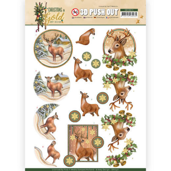 Christmas in Gold Die Cut Decoupage - Deer