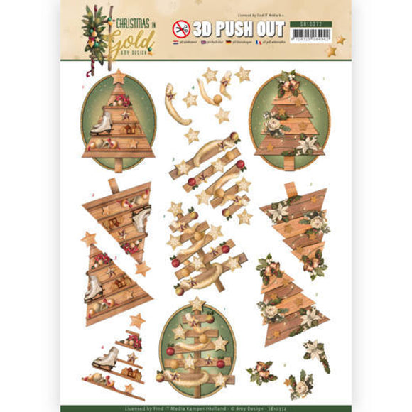 Christmas in Gold Die Cut Decoupage - Trees
