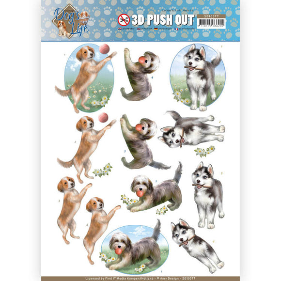 Dog's Life Die Cut Decoupage - Playing Dogs