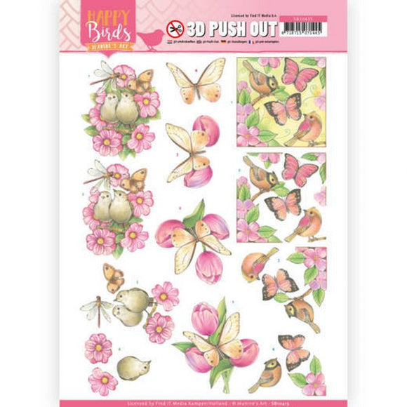 Happy Birds Die Cut Decoupage - Pink Dance