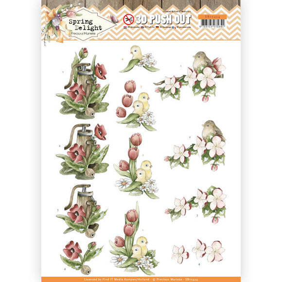 Spring Delight Die Cut Decoupage - Red Flowers