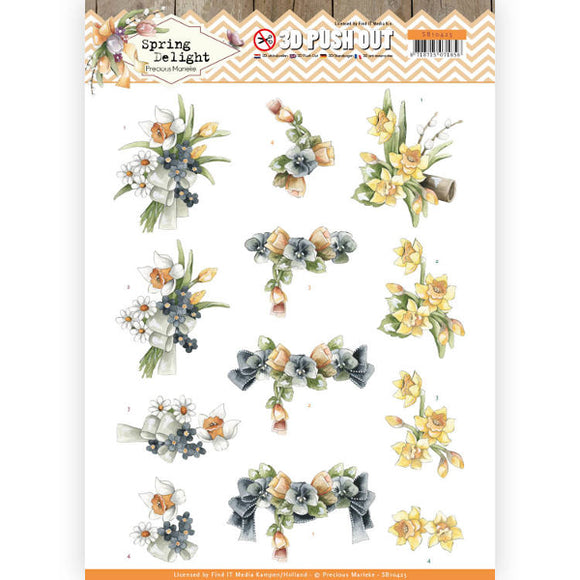 Spring Delight Die Cut Decoupage - Violets & Daffodils