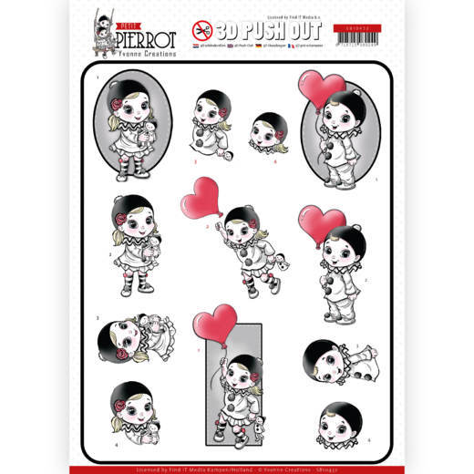 Petite Pierrot Die Cut Decoupage - With Love