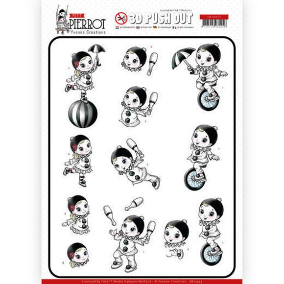 Petite Pierrot Die Cut Decoupage - At the Circus