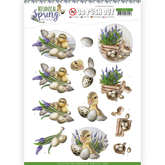 Botanical Spring Die Cut Decoupage - Happy Ducks