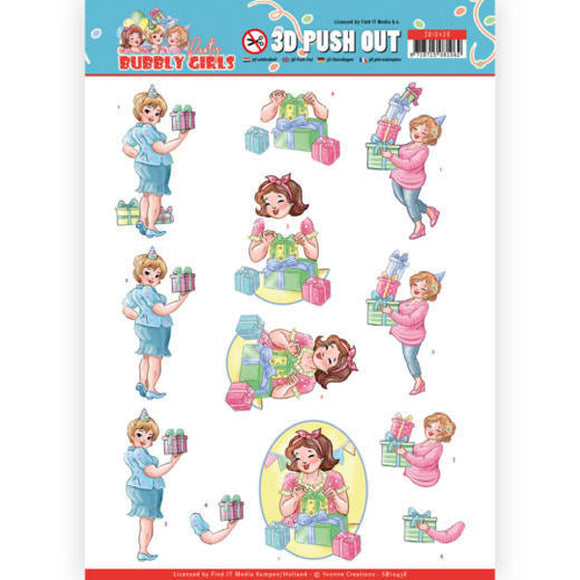 Bubbly Girls Party Die Cut Decoupage - Decorating