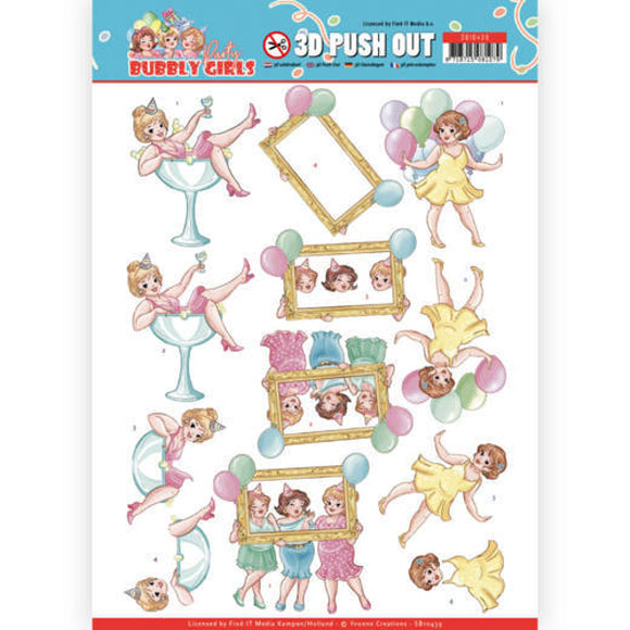 Bubbly Girls Party Die Cut Decoupage - Let's have fun
