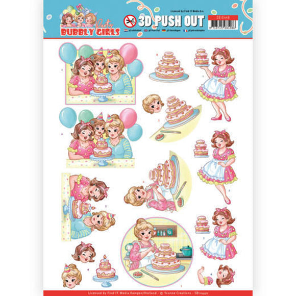 Bubbly Girls Party Die Cut Decoupage - Baking
