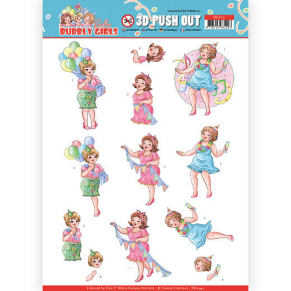 Bubbly Girls Party Die Cut Decoupage - Party Time