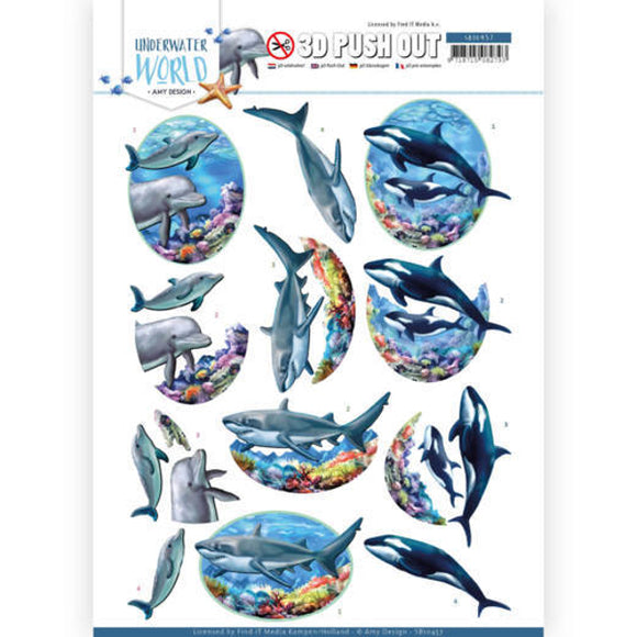 Underwater World Die Cut Decoupage - Big Ocean Animals