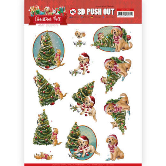 Christmas Pets Die Cut Decoupage - Christmas Tree
