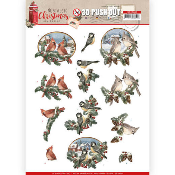 Nostalgic Christmas Die Cut Decoupage - Christmas Birds