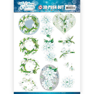 The Colours of Winter Die Cut Decoupage - White Winter Flowers