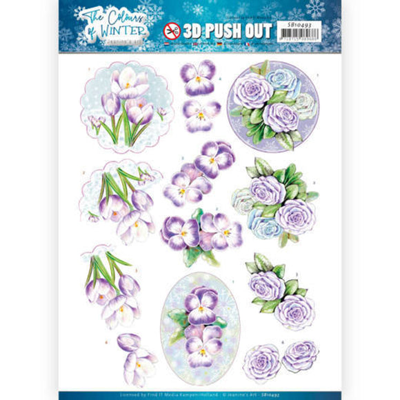 The Colours of Winter Die Cut Decoupage - Purple Winter Flowers