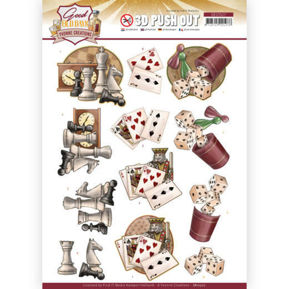 Good Old Days Die Cut Decoupage - Games