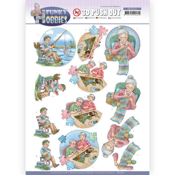 Funky Hobbies Die Cut Decoupage - Knitting