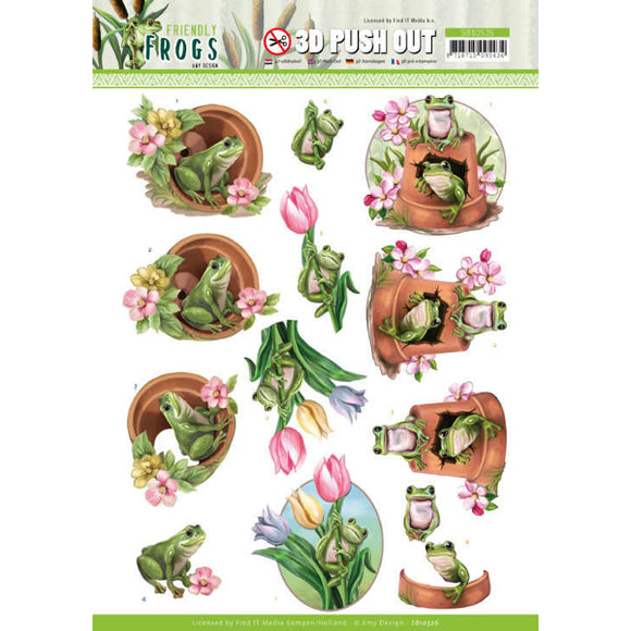 Friendly Frogs Die Cut Decoupage - Flower Frogs