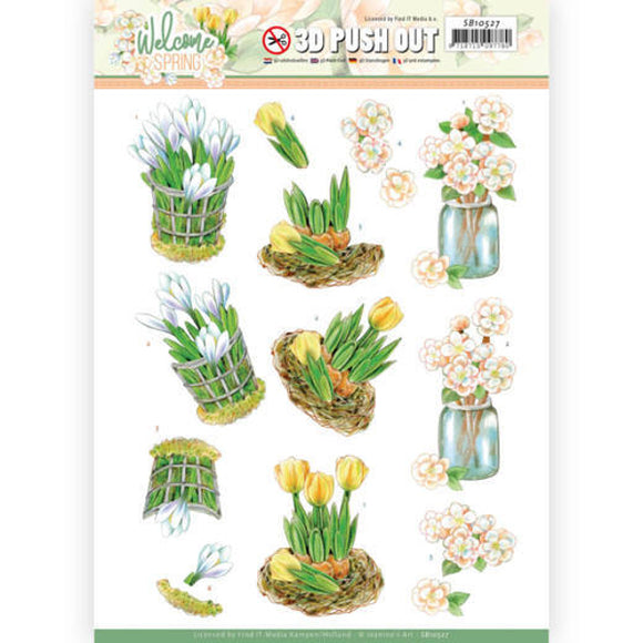 Jeanine's Art Welcome Spring Die Cut Decoupage - Yellow Tulips