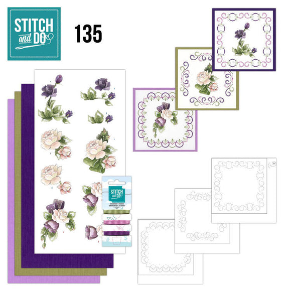 Stitch & Do Kit 135 Purple Flowers