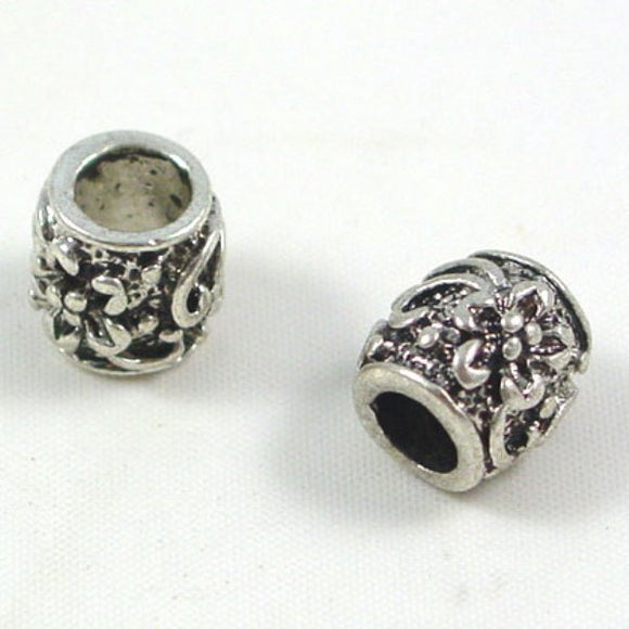 Metal Flower Pattern Drum Spacer Bead 9 x 9mm Pack of 5