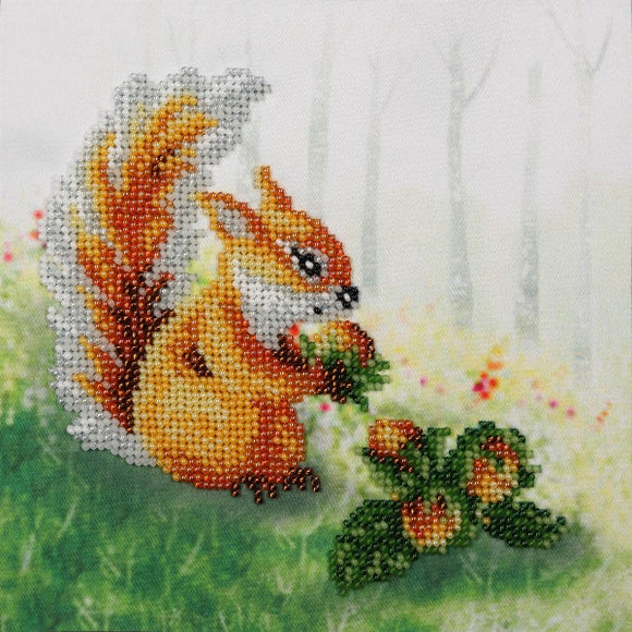 Squirrel with a Nut Beaded Embroidery Kit from VDV