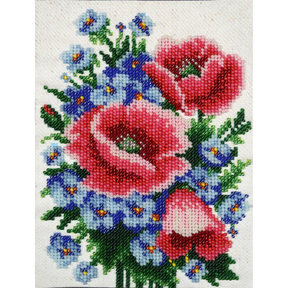 Poppies & Cornflowers Beaded Embroidery Kit from VDV