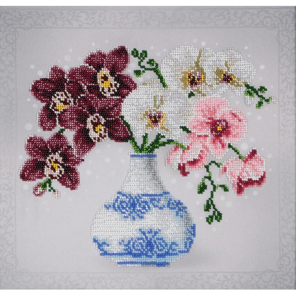 Floral Sketch Orchids Beaded Embroidery Kit from VDV