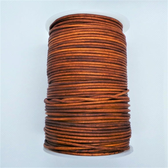 1mm Round Leather Cord in Vintage Colours