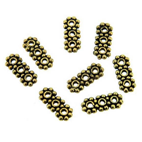 Triple Spacer Beads Antique Gold Flowers Pack of 8