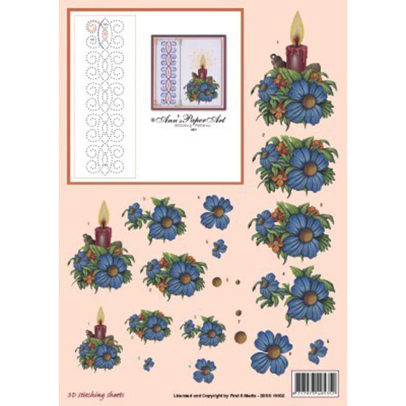 Ann's Stitching Sheet A801 with Blue Flower & Candle