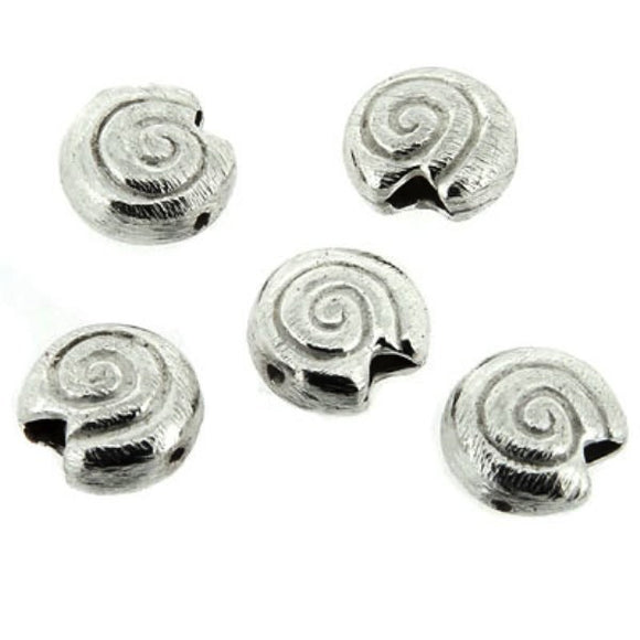 Swirl Pattern Snail Beads 10mm Pack of 5