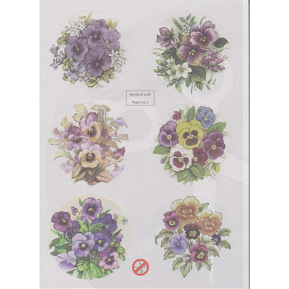 Pearlescent Pansies Die Cut Topper Sheet