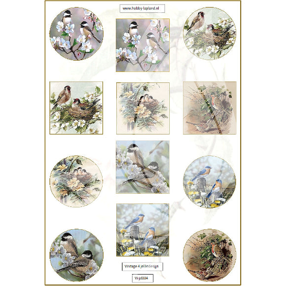 Vintage Birds Topper Sheet