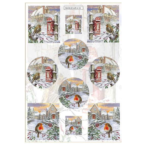 Pearlescent Letterbox Robins Topper Sheet