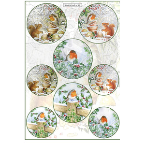 Pearlescent Robin & Squirrel Topper Sheet