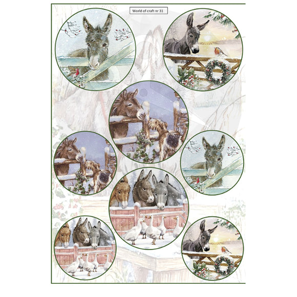 Pearlescent Christmas Donkeys Topper Sheet