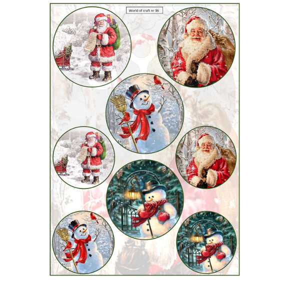 Pearlescent Father Christmas & Snowman Topper Sheet