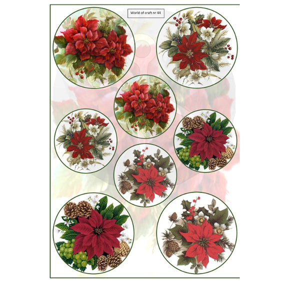 Pearlescent Poinsettia Circles Topper Sheet