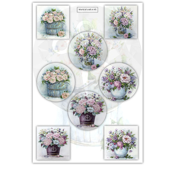 Pearlescent Floral Bouquets Topper Sheet