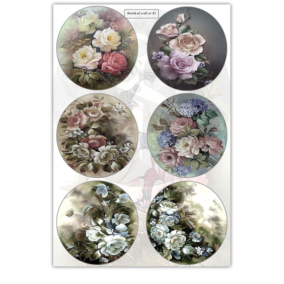 Pearlescent Rose Bouquets Topper Sheet