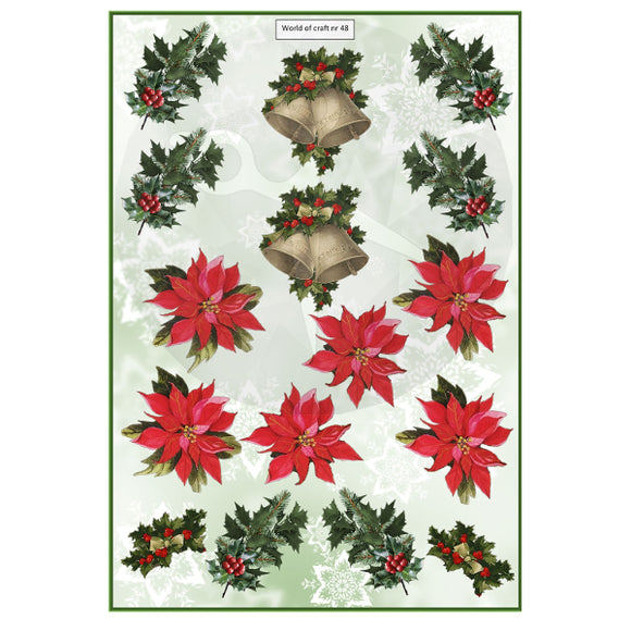 Pearlescent Poinsettia, Bells & Holly Topper Sheet