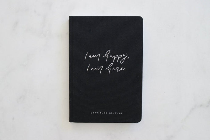 I am happy, I am here - Gratitude Journal BLACK (Bulk Discount Inside)