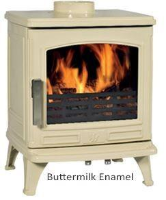 ACR Oakdale Extra large Buttermilk Enamel Traditional Cast Iron Wood Burning Fire Stove
