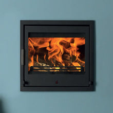 Load image into Gallery viewer, ACR Tenbury 550 Inset Wood Burning Fire on Teal Duck Egg Painted Chimney Breast Living Room