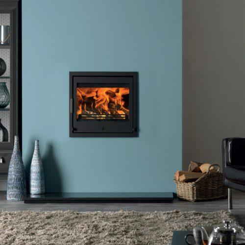 ACR Tenbury 550 Inset Wood Burning Fire on Teal Duck Egg Painted Chimney Breast Living Room