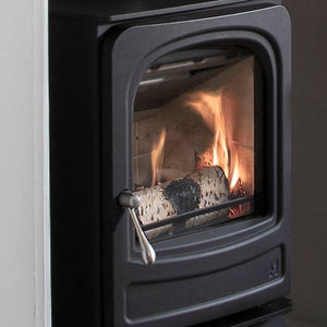 Arada Holburn Stove Side View Black Colour Wood Burning