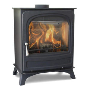 Arada Holburn Wood Burning Stove Black Silver Handle