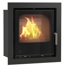 Load image into Gallery viewer, Arada I series Wood Burning Stove Full Glass Door Silver Handle Sleek Square Stove