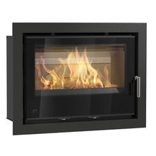 Load image into Gallery viewer, Arada I Series Large Wide Screen Wood Burning Full Glass Door Stove Silver Handle