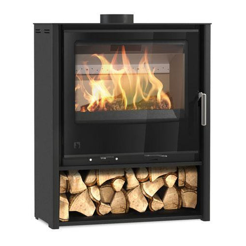 Arada i600 Freestanding Wood Burning Stove Log Storage Black Glass Frame Silver Handle